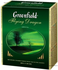 Купить чай Greenfield Green Flying Dragon 100*2 г без добавок - чай Гринфилд зелёный Летающий Дракон без добавок 100 пакетов в Украине, цены, отзывы, состав, доставка