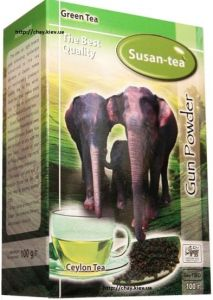 Чай Susan-Tea GP - Green Gun Powder 100g - зеленый цейлонский крупнолистовой чай без добавок Сусан Пушечный Порох 100 г картон