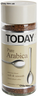 Растворимый кофе Today Pure Arabica 95g - кофе Тудей Чистая Арабика 95 г растворимый в кристаллах стекло