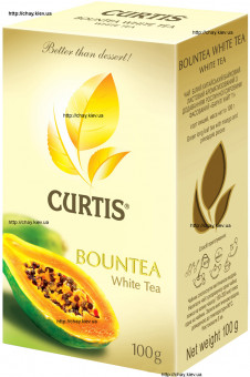 Чай Curtis Bountea 100g White Leaf Tea листовой с добавками - белый листовой чай Кертис Баунти с добавками папайи 100 г