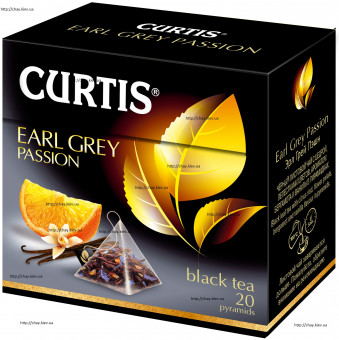 Чай Кертис Эрл Грей в пирамидках 20*1,7 г - чёрный чай Curtis Earl Grey Passion с Бергамотом Black Tea Pyramids 20*1,7g